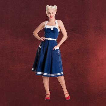 Rockabilly Kleid Siren mit Gürtel navy