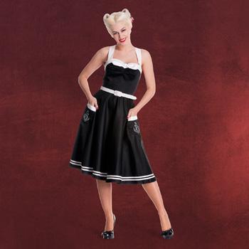 Rockabilly Kleid Siren mit Gürtel schwarz