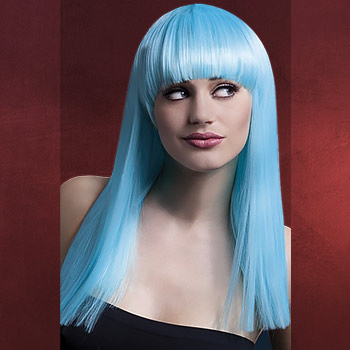 Premium Perücke Alexia - Langhaar mit Pony blau