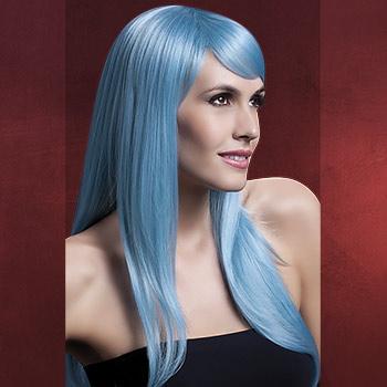 Premium Perücke Sienna - Langhaar gestuft mit Pony blau