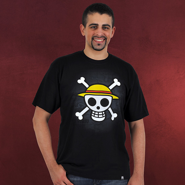 One Piece Skull With Map T Shirt Schwarz Elbenwald