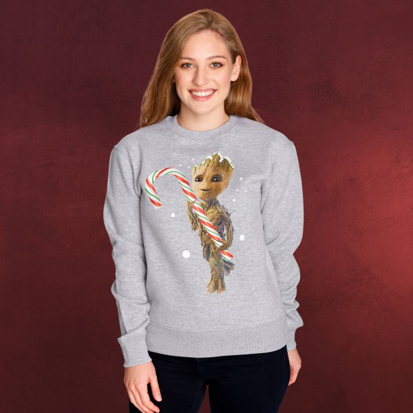 Guardians of the Galaxy - Groot mit Zuckerstange Sweater grau