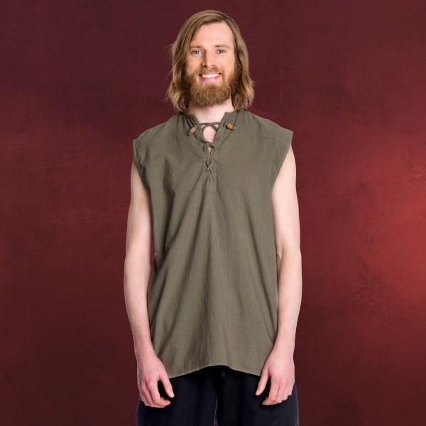 Mittelalter Schnürhemd ärmellos oliv