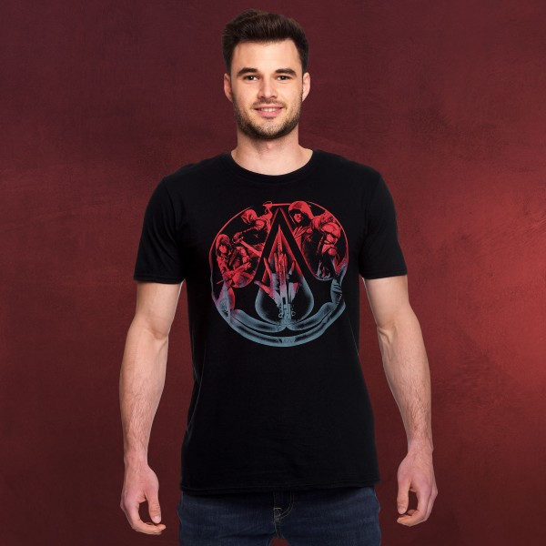 Assassins Creed - Characters & Hidden Blade T-Shirt schwarz