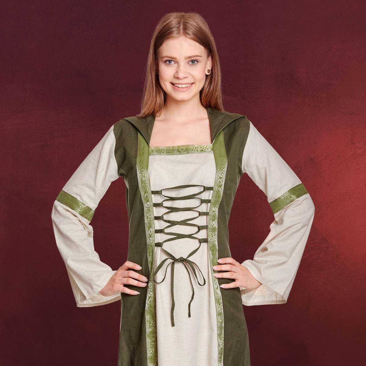 rebecca mittelalter kleid natur-grün   elbenwald