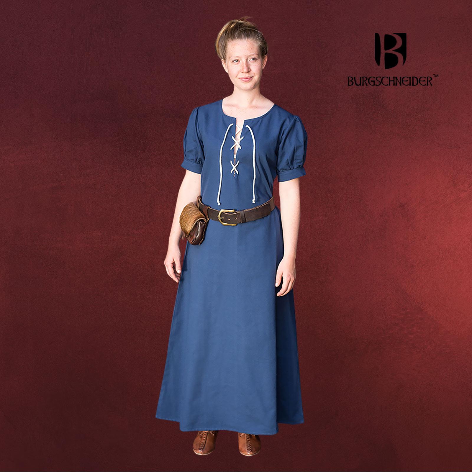 Mittelalter Kleid Gretl Kurzarm blau