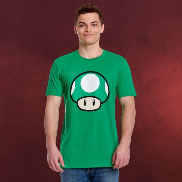 Super Mario - 1 UP Pilz T-Shirt grün