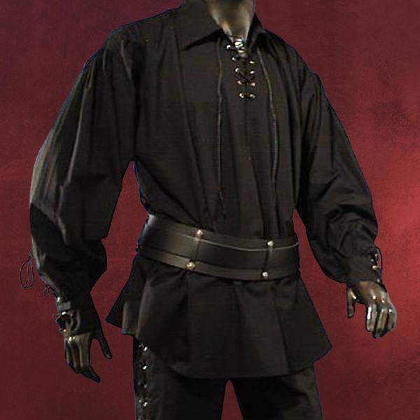 Piratenhemd mit breitem Kragen schwarz