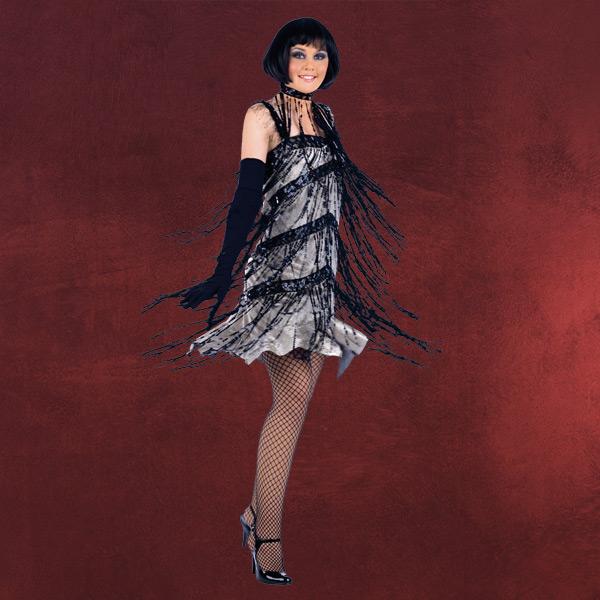 Charlestonkleid mit Paillettenfransen Kostüm
