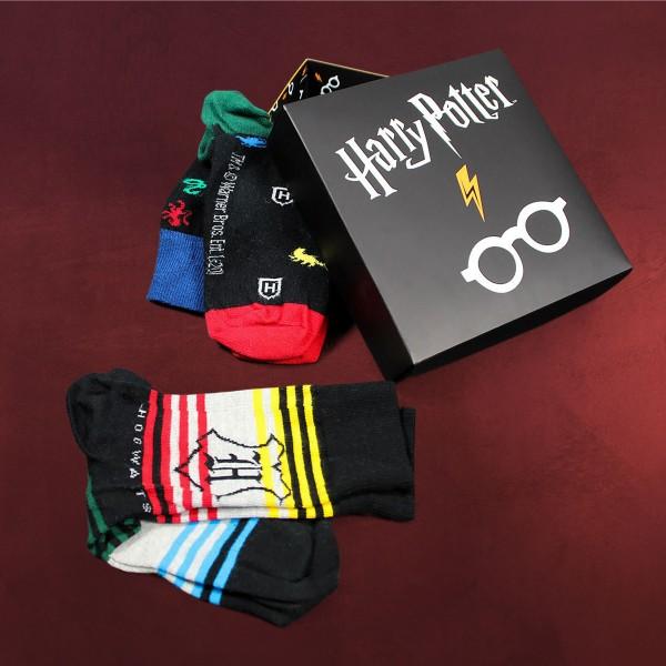 Harry Potter - Brille und Blitz Socken 3er Set in Geschenkbox