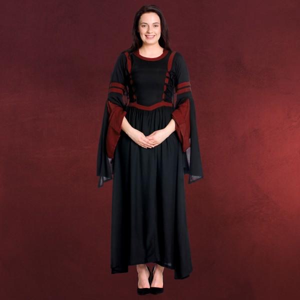 Mittelalter Kapuzenkleid Isolde schwarz-rot