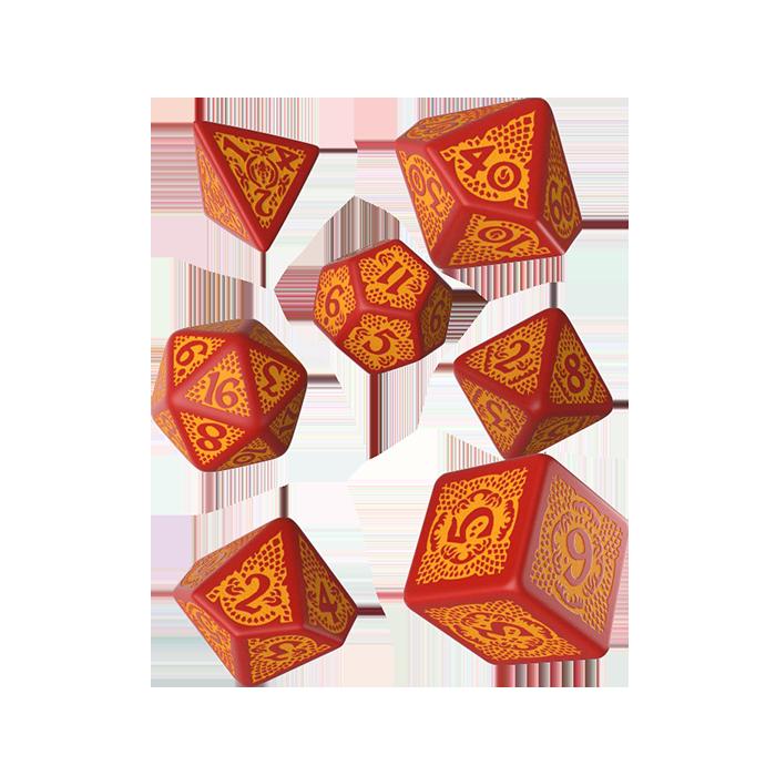 Dragon Slayer RPG Würfel Set 7tlg rot-orange
