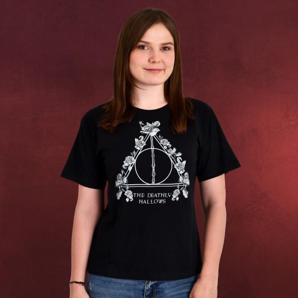 Harry Potter - Floral Deathly Hallows T-Shirt Damen schwarz