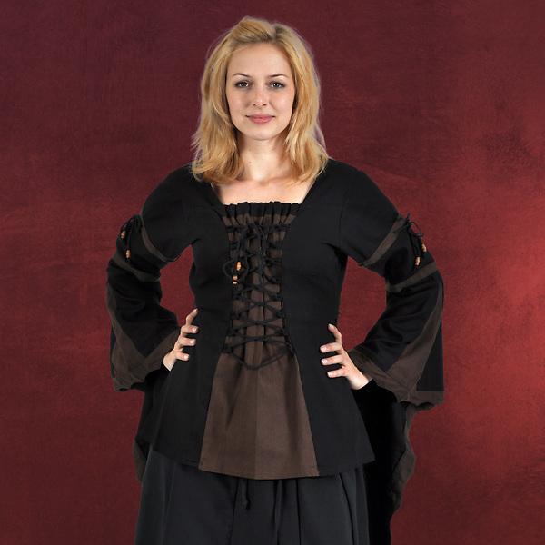 Mittelalter Bluse mit Schnürung schwarz-braun