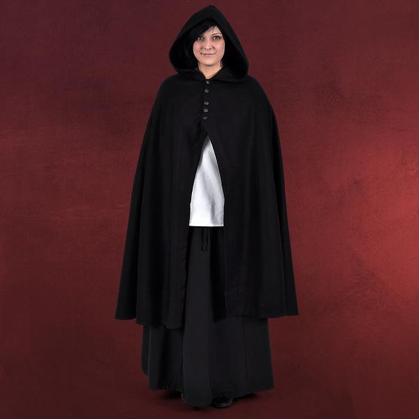 Damenumhang mit Metallknöpfen schwarz
