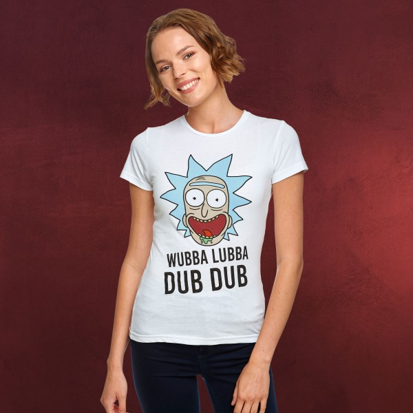 Rick and Morty - Wubba Lubba Dub Dub T-Shirt Damen weiß