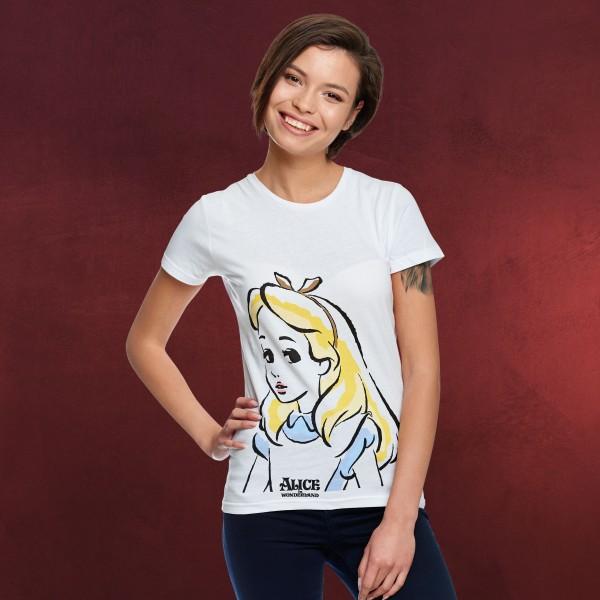 Alice im Wunderland - Portrait T-Shirt Damen weiß