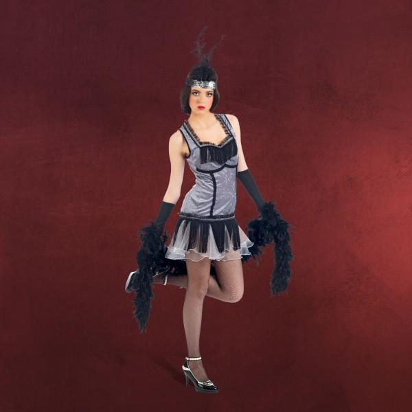 Cabaret Kleid mit Haarband - Kostüm Damen silber