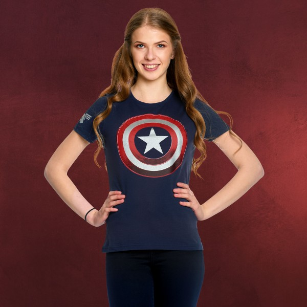 Captain America - Shield Logo T-Shirt Damen blau