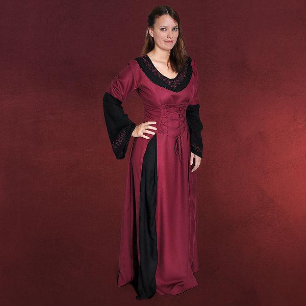 Mittelalter Kleid Eva mit Schnürung bordeaux-schwarz