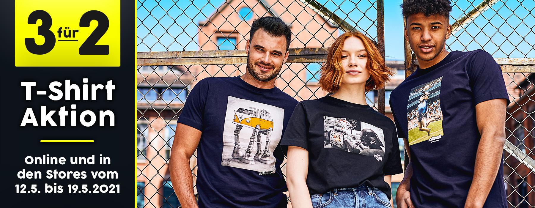 3 für 2 Shirt Aktion