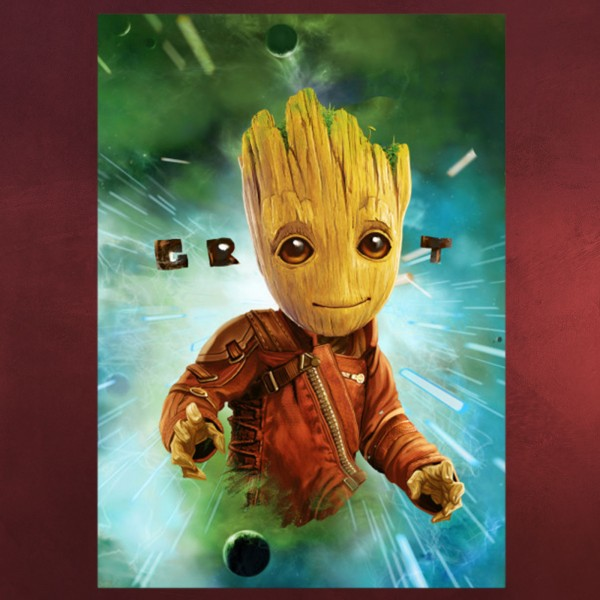 Guardians of the Galaxy - Baby Groot in Space Metall Poster