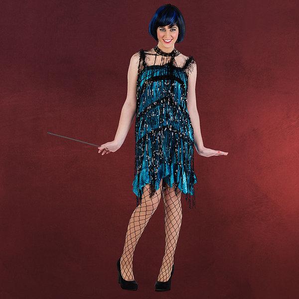 Charleston Kleid mit Paillettenfransen petrol