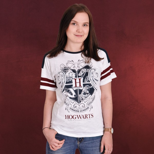 Harry Potter - Hogwarts Wappen T-Shirt Damen weiß
