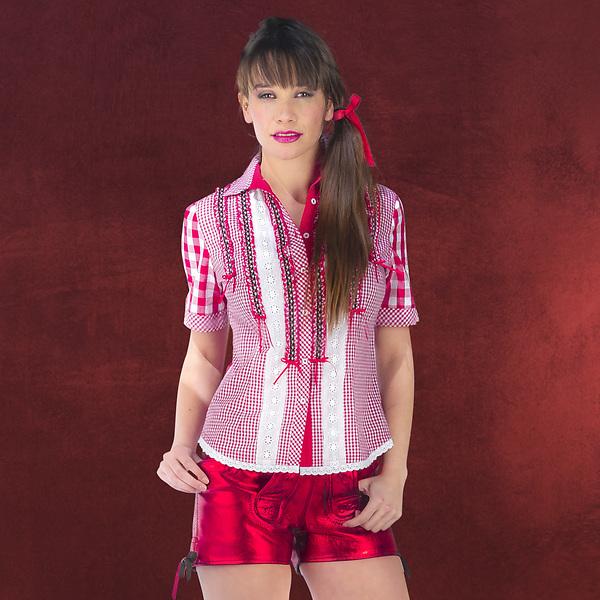 Trachtenbluse Deluxe rot-weiß kariert
