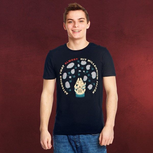 Star Wars - Asteroids That Almost Hit Millennium Falcon T-Shirt blau