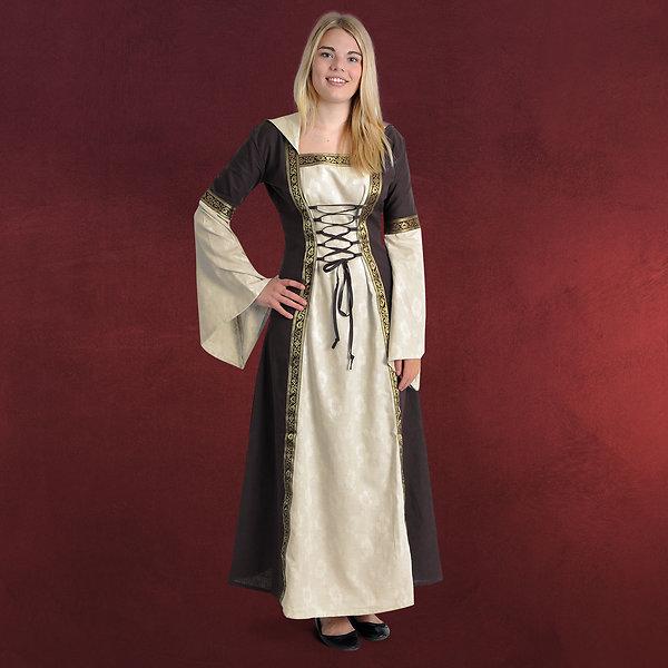 Mittelalter Kleid Brigitta natur-braun