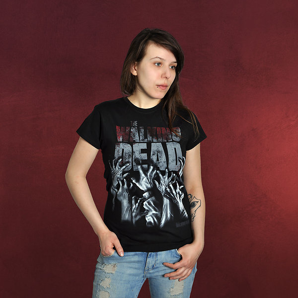 Walking Dead - Hands Blood Splatter Girlie Shirt schwarz