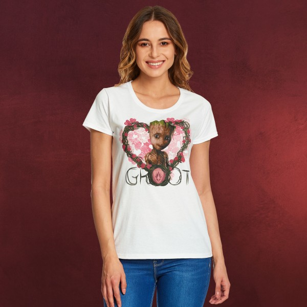 Guardians of the Galaxy - Baby Groot Heart T-Shirt Damen weiß