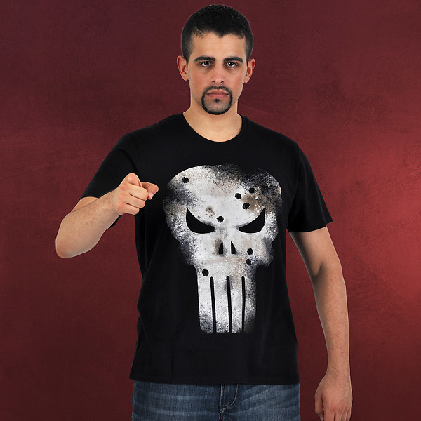 Punisher - Damaged Skull T-Shirt