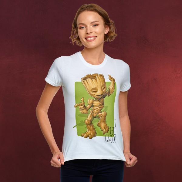 Guardians of the Galaxy - I Feel Groot T-Shirt Damen weiß