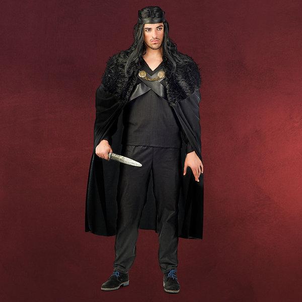 Nachtwache - Umhang mit Fellbesatz schwarz