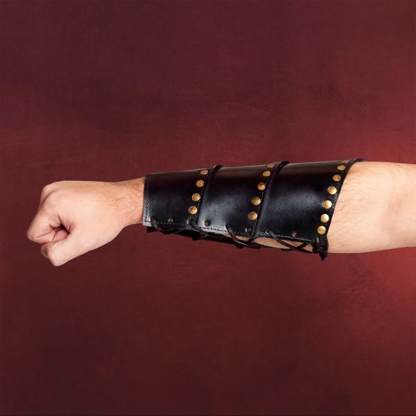 Mittelalter Lederarmschienen mit Nieten schwarz