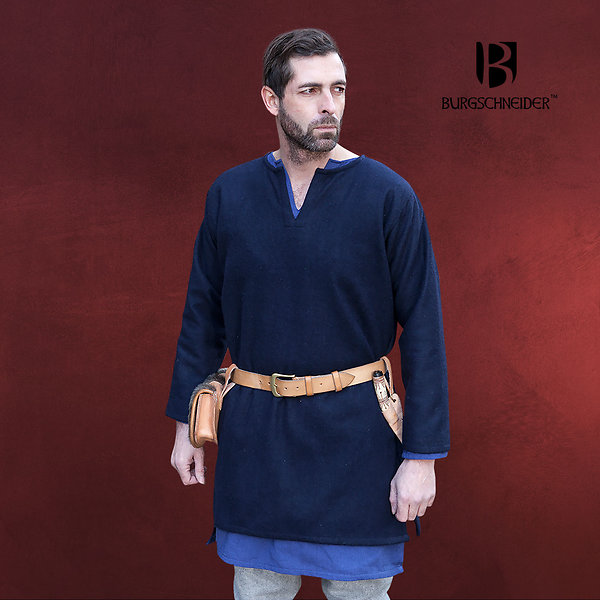 Mittelalter Wolltunika Lodin blau