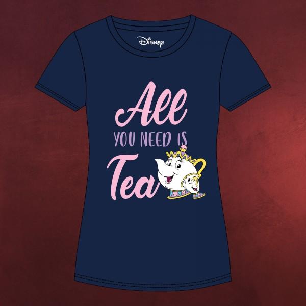Die Schöne und das Biest - All You Need Is Tea T-Shirt Damen blau