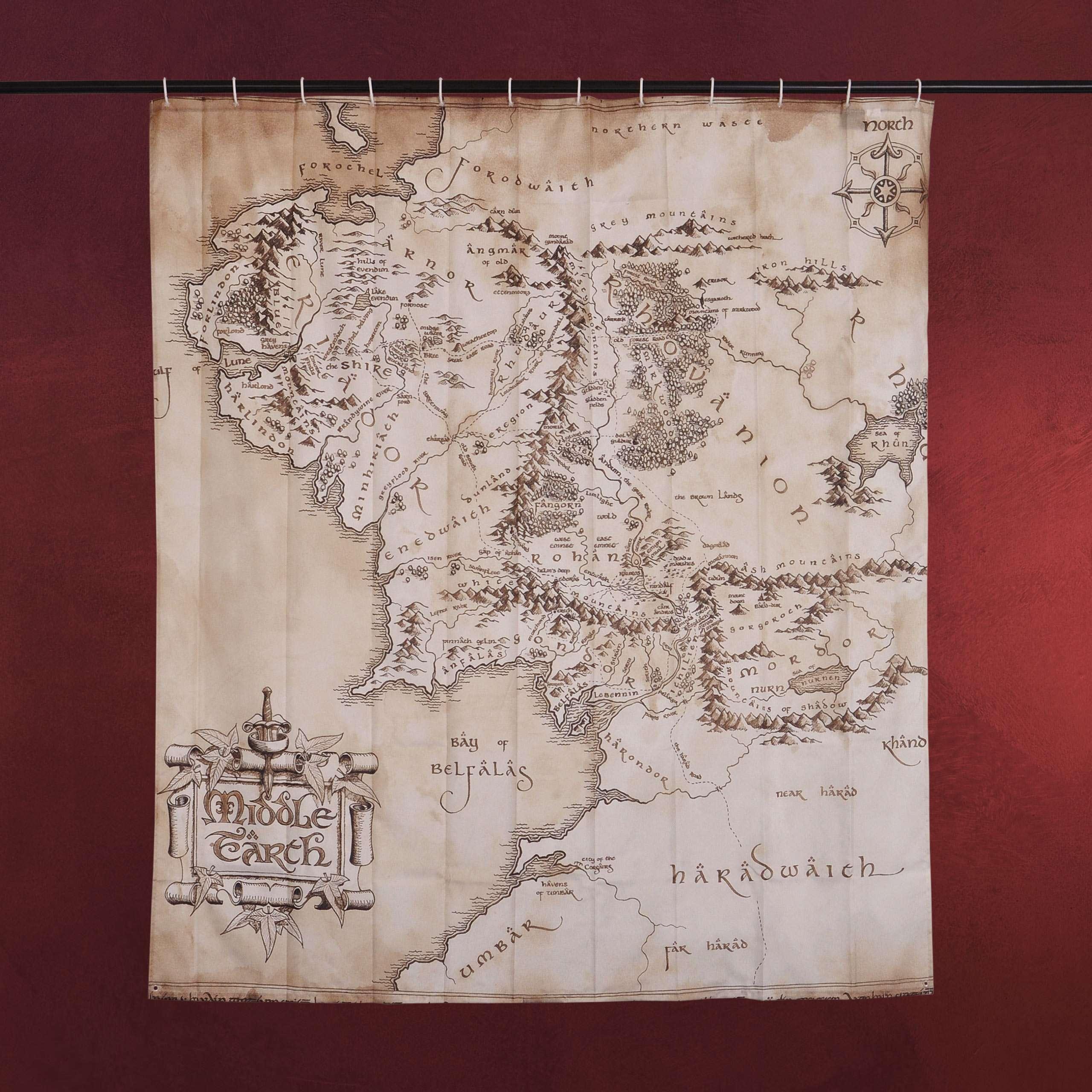 Mittelerde Karte 4k.Herr Der Ringe Mittelerde Karte Duschvorhang