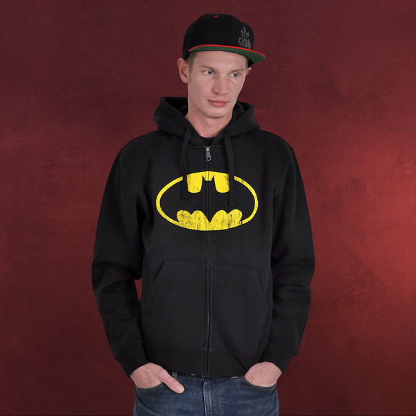 Batman - Distressed Kapuzenjacke schwarz
