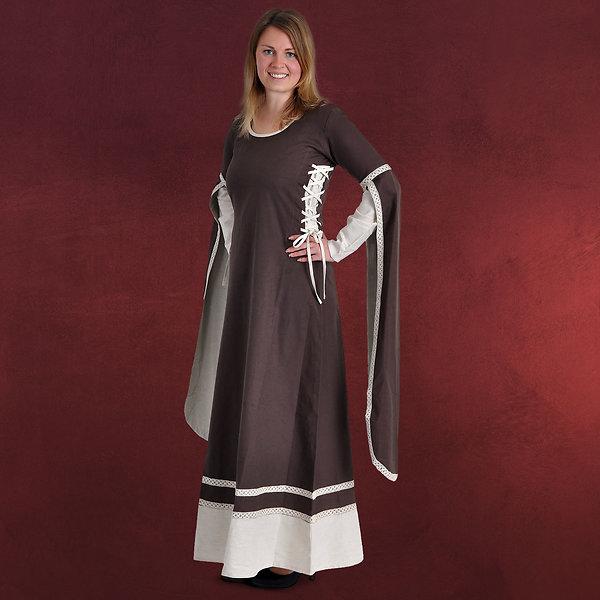 Mittelalter Kleid Kungundt mit seitlicher Schnürung braun-natur