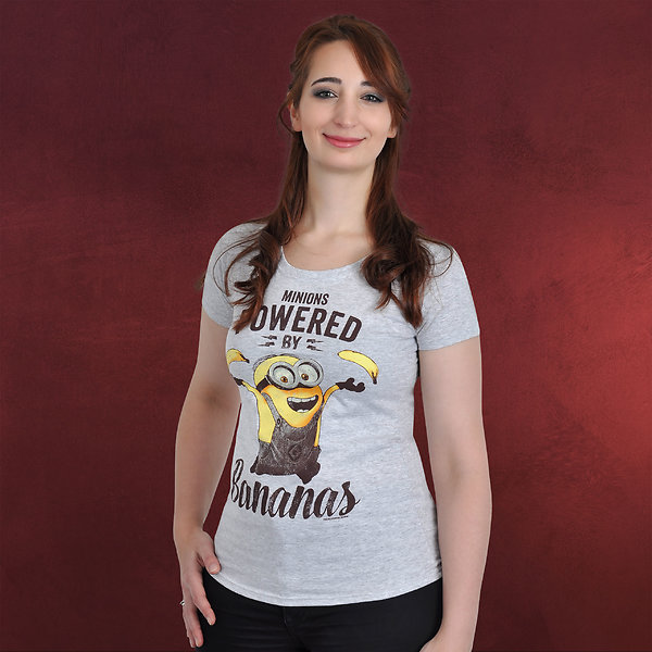 Minions - Powered By Bananas Girlie Shirt grau