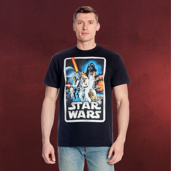 Star Wars - Retro Movie Poster T-Shirt schwarz