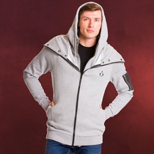 Assassins Creed - Logo Kapuzenjacke doppellagig grau