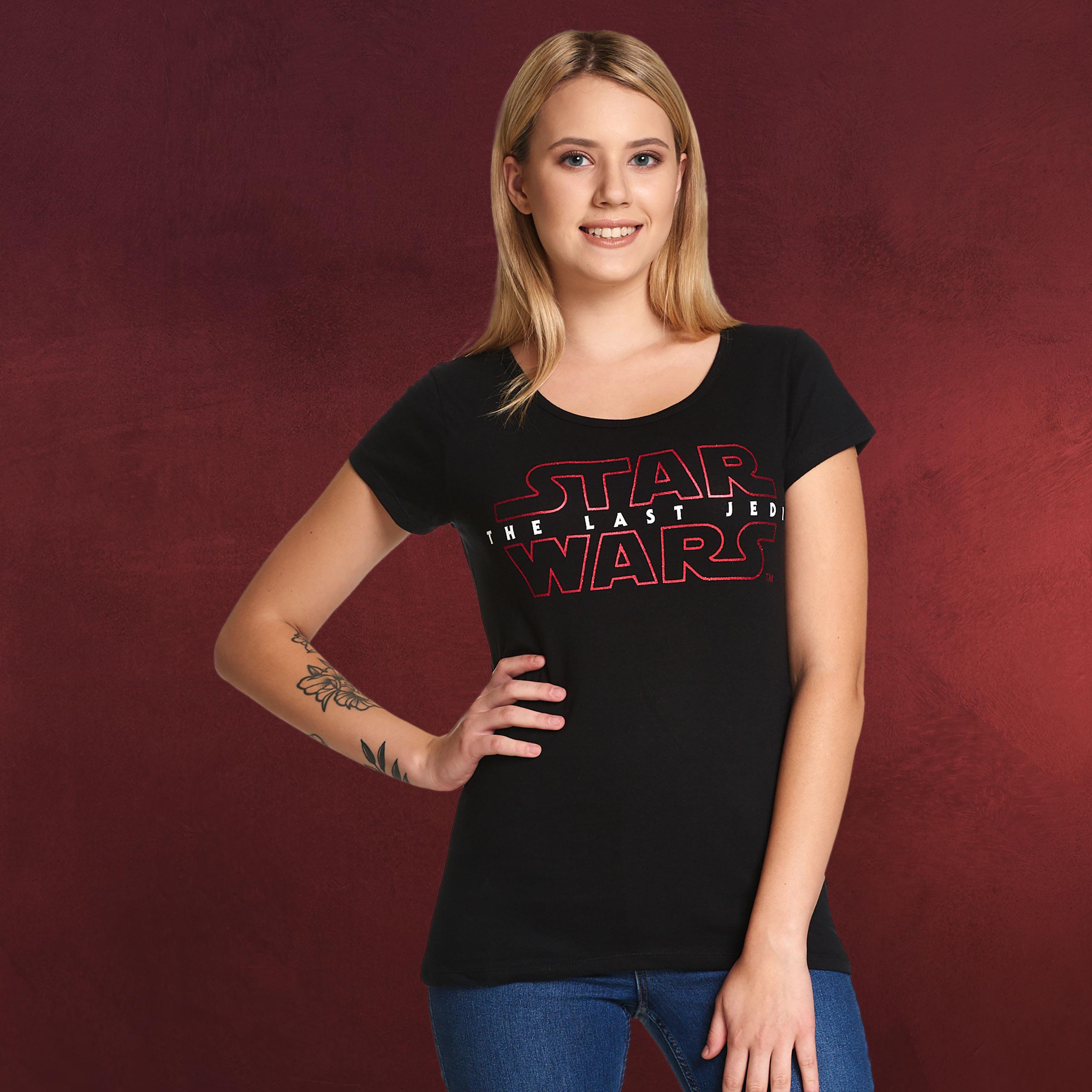 star wars the last jedi logo t shirt damen schwarz. Black Bedroom Furniture Sets. Home Design Ideas