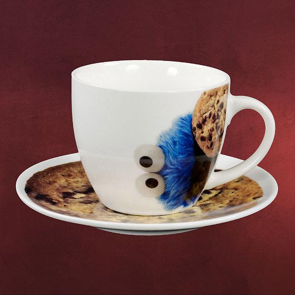 Sesamstraße - Cookie Monster Tasse mit Untertasse