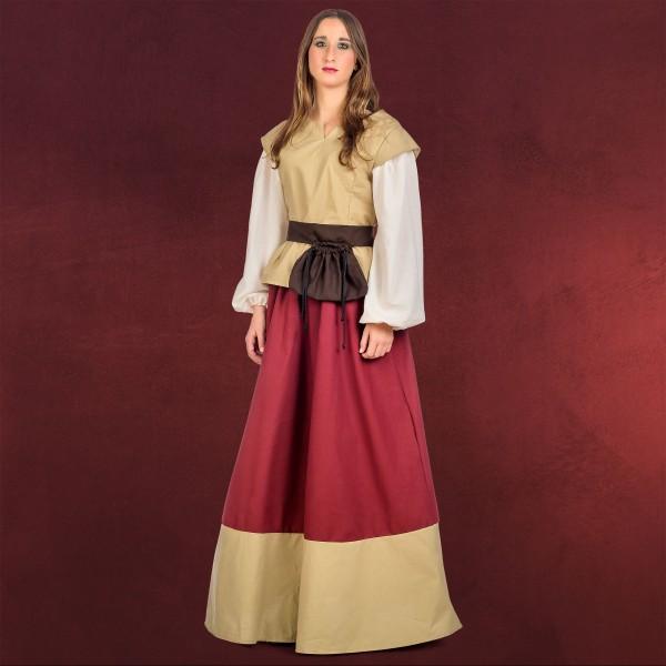 Mittelalter Damen Kostüm Juana beige-rot