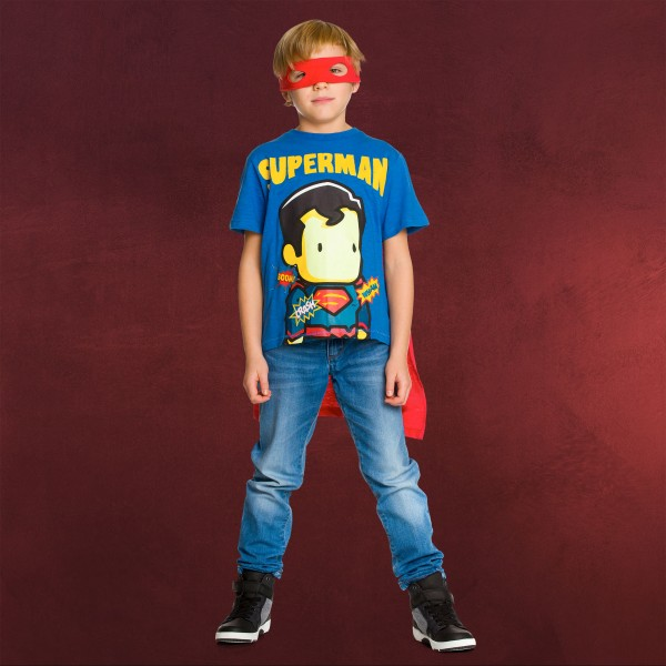 Superman - Kinder T-Shirt mit Cape & Augenmaske