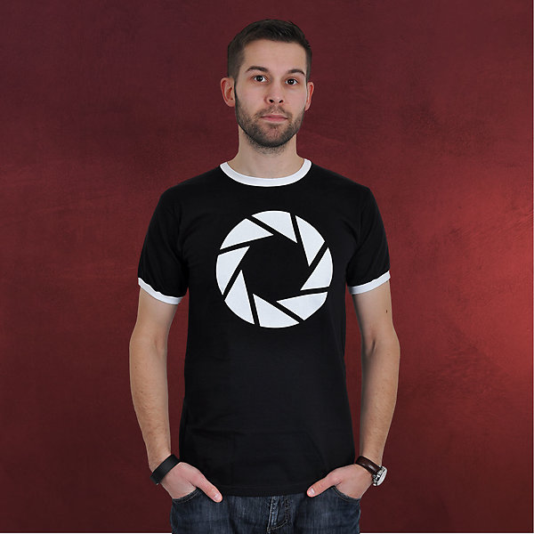 Portal 2 - Aperture Symbol T-Shirt schwarz